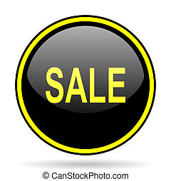 sale black and yellow glossy internet icon