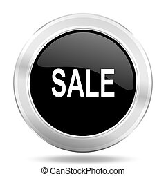 sale black icon, metallic design internet button, web and mobile app illustration