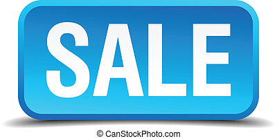 Sale blue 3d realistic square isolated button