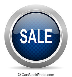 sale blue circle glossy web icon on white background, round button for internet and mobile app