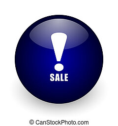 Sale blue glossy ball web icon on white background. Round 3d render button.