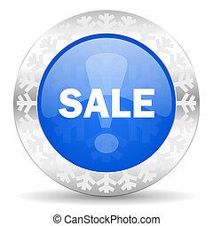 sale blue icon, christmas button