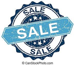 sale blue round grunge stamp on white