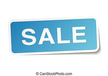 sale blue square sticker isolated on white