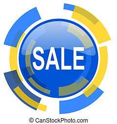 sale blue yellow glossy web icon