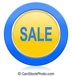 sale blue yellow icon