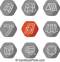 Sale buildings materials (roof, facade) site icons set...