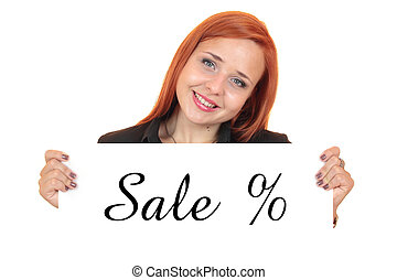 Sale. Business woman on white