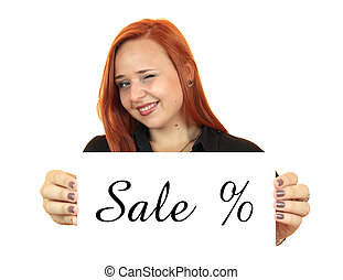 Sale. Business woman