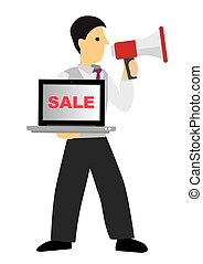 Sale Businessman with a loudspeaker selling his computer laptop. Concept of sale and retail.