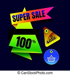 sale button super Sale Sign Banner Poster ready for Web and Print. Vector.. Abstract veiolet background. Design concept.