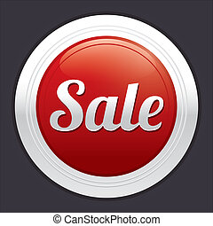 Sale button. Vector red round sticker.