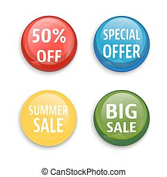 Sale buttons set isolated