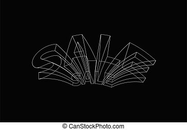 Sale Calligraphic 3d Style Text Vector illustration Design.