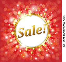 Red Sale Poster With Bokeh And Star, Vector Illustration