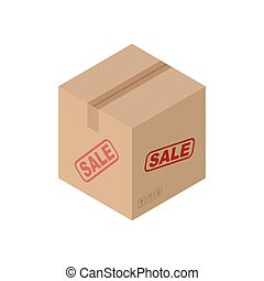 Sale Cardboard box isolated. discount pasteboard case on...