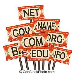 sale., cartel, dominio, nombres, retro