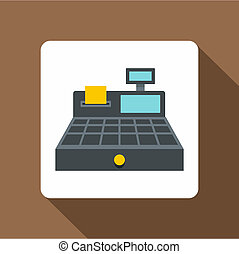 Sale cash register icon, flat style