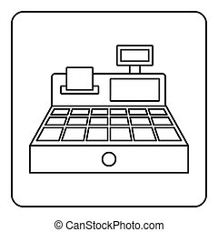 Sale cash register icon outline