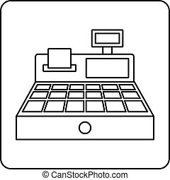 Sale cash register icon outline