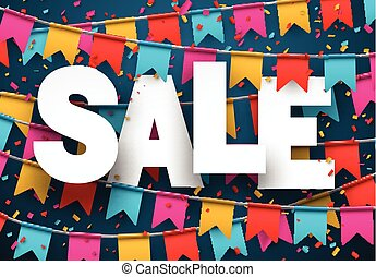 Sale celebration background. - Celebrate banner. Party flags...