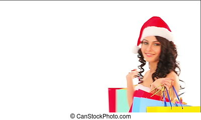 Sale Christmas red bag. Shopping woman in Santa hat. - Sale...