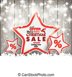 Sale Christmas Stars Snow Wooden Background - Snow with red...