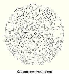 Sale circle background from line icon. Linear vector pattern.