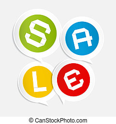 Sale Circle Colorful Stickers - Labels on Light Grey Background