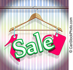 Sale Clothing Hangers on beautiful background