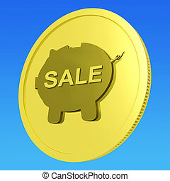 Sale Coin Means Reduced Price Or Discounted Goods