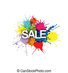 SALE! Colorful banner of colorful splashes of paint.