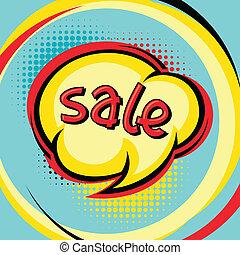 Sale comic speech bubble background in cartoon style.