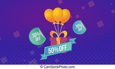 sale commercial label with gift and balloons helium