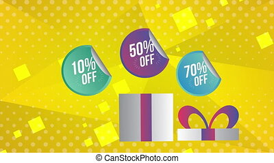 sale commercial label with gift present
