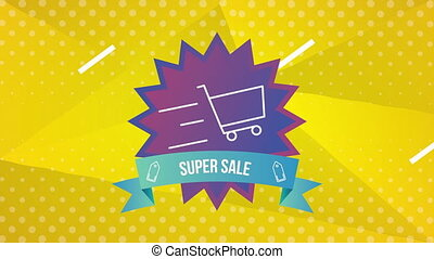 sale commercial label with seal and cart shopping