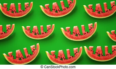 Sale concept - Fresh slices of watermelon on green ...