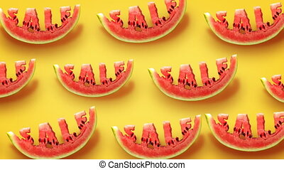 Sale concept - Fresh slices of watermelon on yellow...