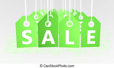 """Sale concept, green hang-tags with percentage sign"""