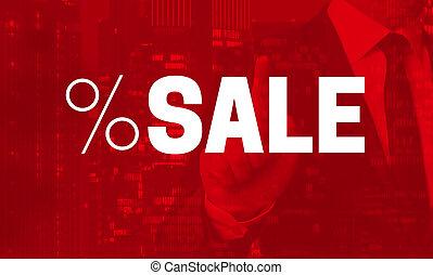 Sale concept is shown by businessman