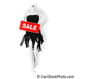 Sale concept. Mannequin holding sale sign isolated on white background. Copy space
