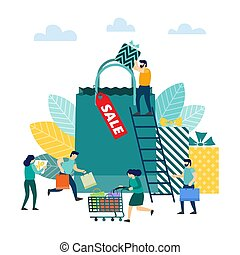 Sale concept. People with shopping - People with shopping....