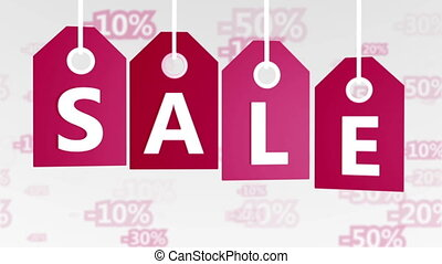 Sale concept, red hang-tags with percentage signs