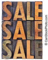 sale concept - vintage wood types
