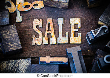 SALE Concept Wood and Rusted Metal Letters
