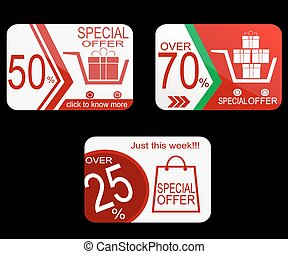 Sale Coupon, voucher, tag. Vector Template Design.