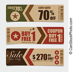 Sale Coupon, voucher, tag. Vintage Style template Design...