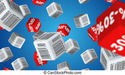 Sale - Cubes with barcode labels and percent symbols falling...
