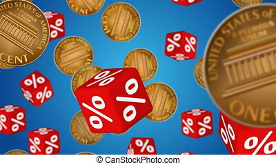 Sale - Cubes with percent symbols and coins falling down. ...