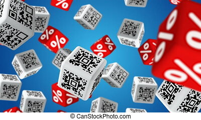 Sale - Cubes with QR code labels and percent symbols falling...